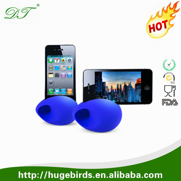 Fashion egg shape silicone amplifier for iphone silicone horn speaker