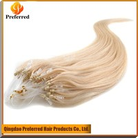 Most Popular blond color 100% Brazilian human hair Micro ring loop hair extension in stock