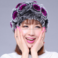 Wholesale Beautiful Rose flower Pink Russian Hat Women Ladies Warm Rex Rabbit Fur Hat With Rose Decorate