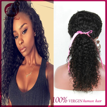 Top grade 100% brazilian loose deep wave hair weave natural wave 12 inch curly hair full lace wig lace front wig with baby hair