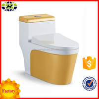 Color Floor Mounted European Design Siphonic One Piece Gold Toilet