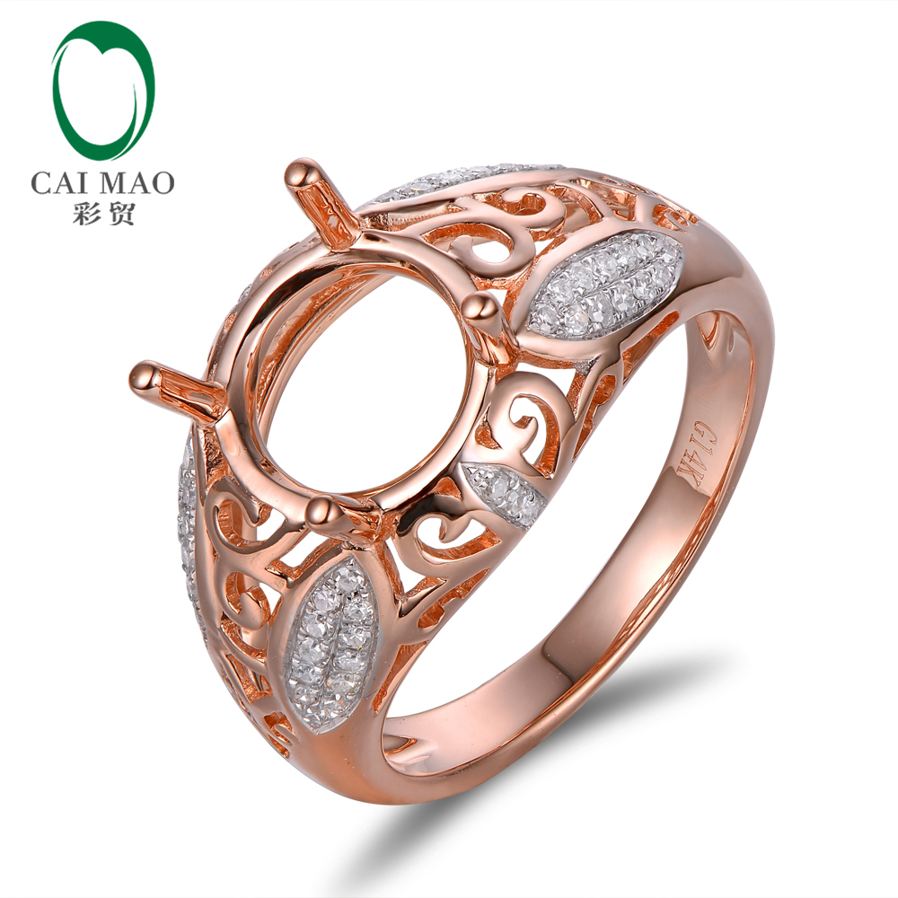 Amazing Superior Round Diamond 14K Rose Gold 9mm Round Cut Ring Setting