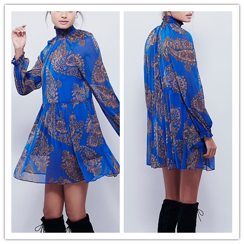 Smocking Sleeve Opening and Collar Paisley Printed Hawarii Design Gothic Lolita Latex Long Dress Boho NT6818