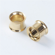 10mm Stainless Steel Ear Stretcher Expander Bobbin Gold Plated Ear Taper Expanders