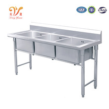 Table type stainless steel restaurant 3 bowl kitchen sink