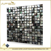 Latest design wall tiles mesh black lip shell mosaic tiles