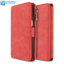 Detachable Leather Magnetic Sport Wallet Flip Case Folio Stand Case Zipper Coin Purse case For Samsung Galaxy J3 J310