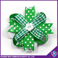 St. Patrick's Day Green and White Ribbon Bow Hair Barrette
