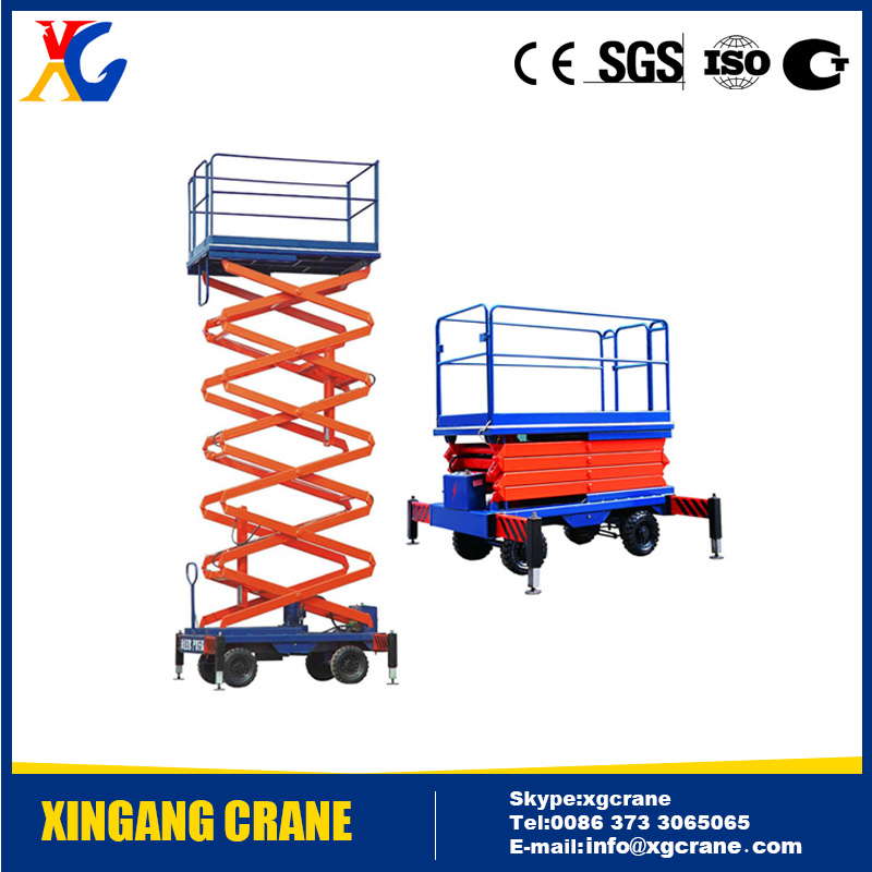 Very Popular SJY Model Mobile Hydraulic Scissor Lift Table 300kg, 500kg, 1 ton with Lifting height 4m, 6m, 10m, 12m
