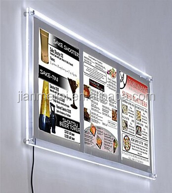 2015 hot sale !!! 11 x 17 Acrylic Sign Holder for Wall, LED Illuminated frame holder, Holds 3 Signs - Silver Border