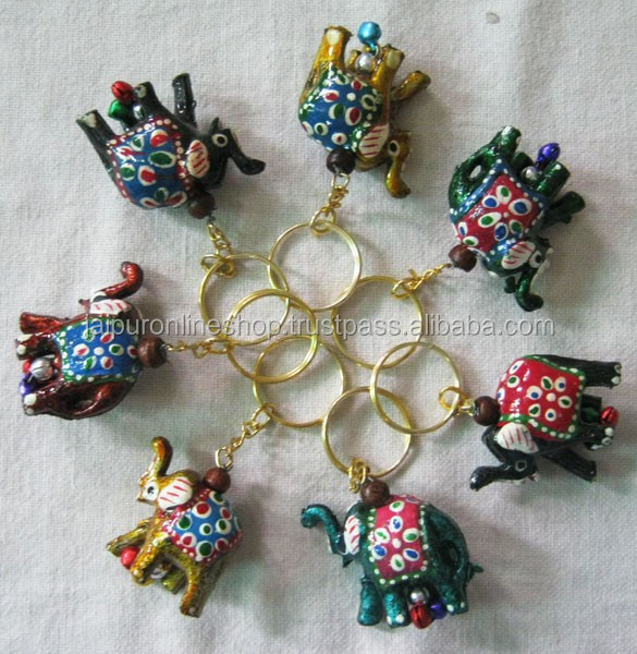 100 Pcs Rajasthani Lakh Handicraft Work Multicolored Elephant Key Rings / Key Chains