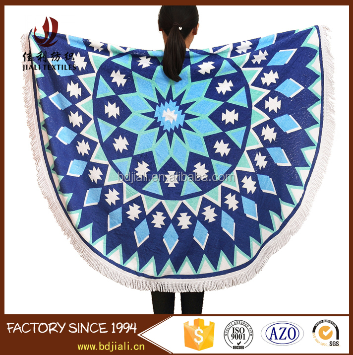 Factory supply good quality velour Printed mandala round beach towel
