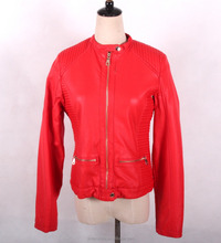 Cheap red pu leather jacket low prices women