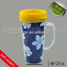 Shenzhen 450ML Food Safe Plastic Drinking Cup with Lid and Handdle