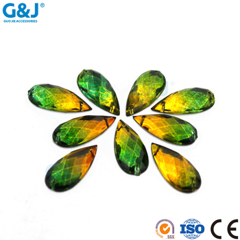 guojie brand wholesale sew on bag special tear shape green acrylic stone
