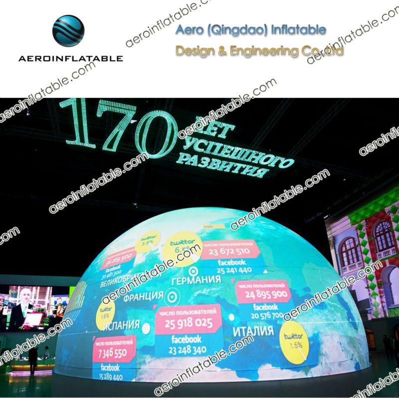 Inflatable vertical hemispherical projector screen / earth balloon / dome