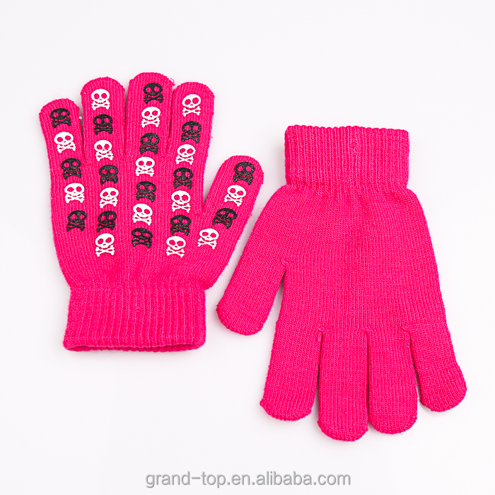 Ladies Pink Rubber Print Magic Gloves & Mittens