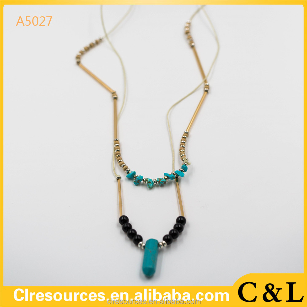 Wholesale Fashion Jewelry Black Beads Blue Stone Double Chain Golden Necklace