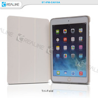 for ipad mini 3 folio case with clear back shell, tri folded flip cover for ipad mini 3