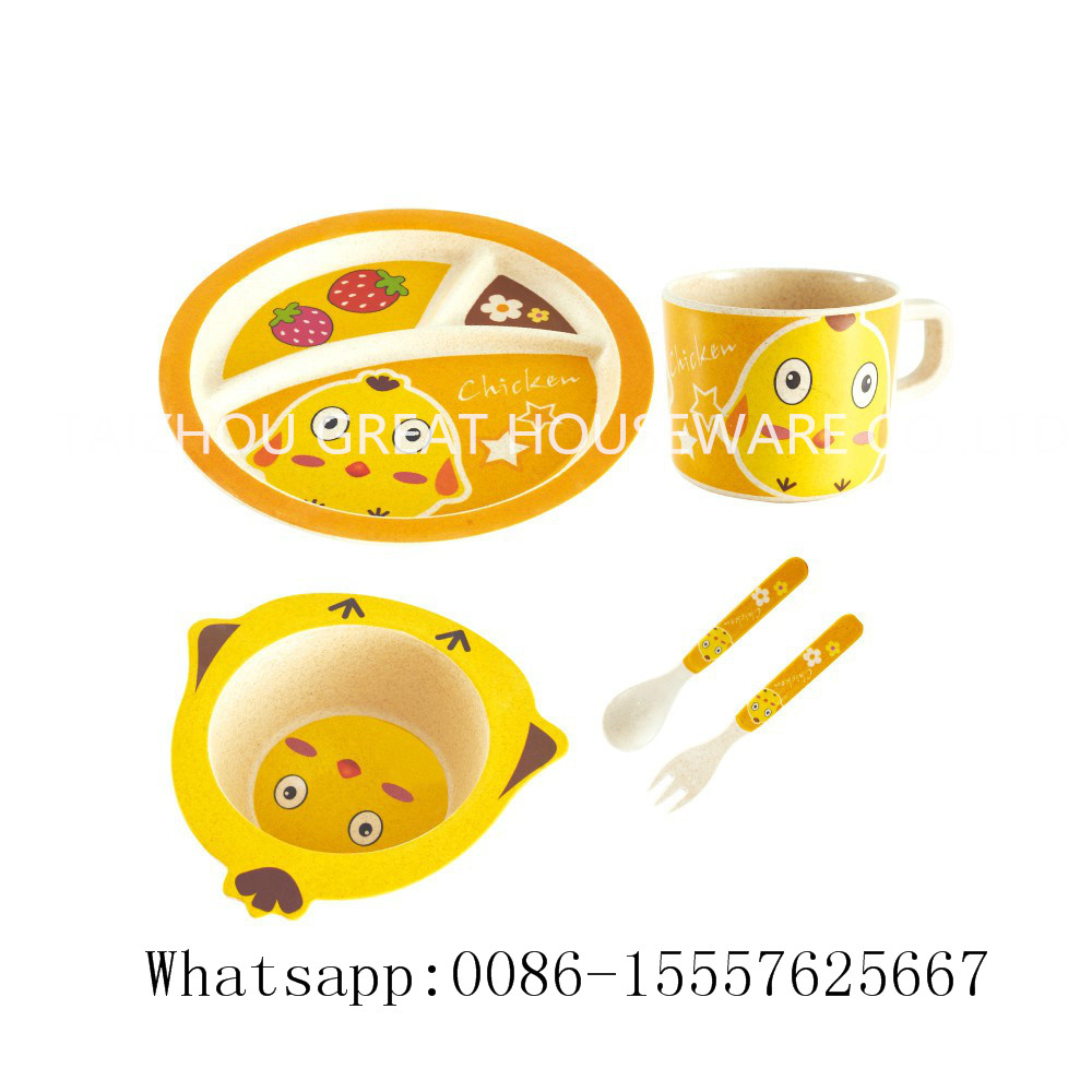 CE/FDA certificated eco-friendly cute animal design baby meal dinner sets/kid melamine bamboo fiber dinnerware sets