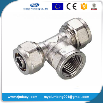 Brass Compression Fittings for Pex-Al-Pex Pipes - Female Tee