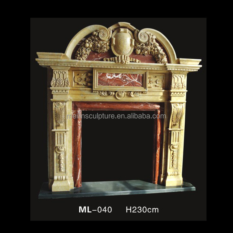 henan yellow marble indoor gas double layer stove mantel