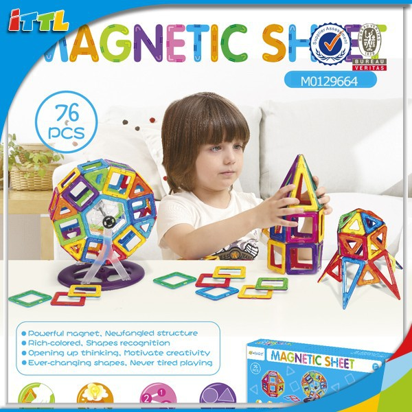 Factory direct sale magnet magnetic blocks kids plastic building blocks 76pcs