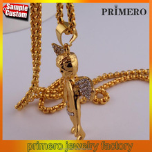 Mens hiphop jewelry Micro Angel Piece wings pendent necklace 18 carat gold plated jewelry