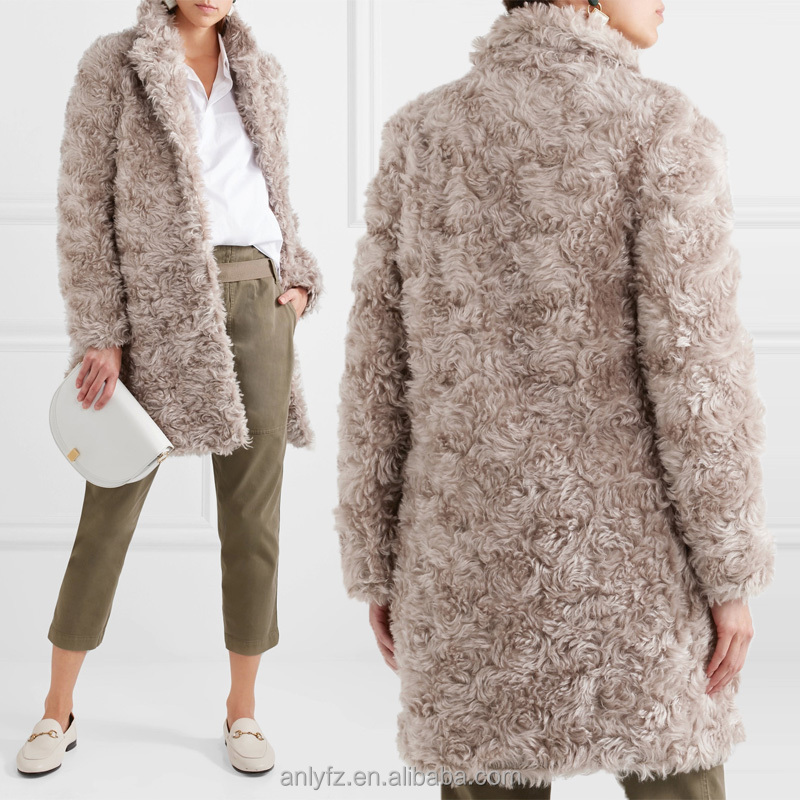 China factory manufacture price winter wear latest plus size faux shearling coat