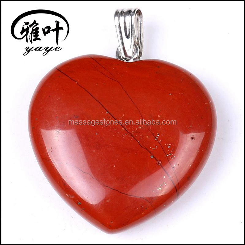 Natural Hand Carved Heart Shaped Red Jasper Pendants