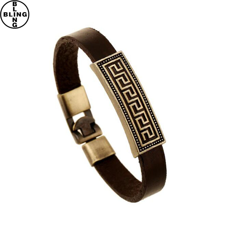 Alice-Newest Different Kinds Size Blank Wide Leather Bracelet