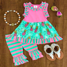 Smocked children clothing wholesale printed pineapple stripe ruffle kids clothing summer boutique toddler girl clothing sets