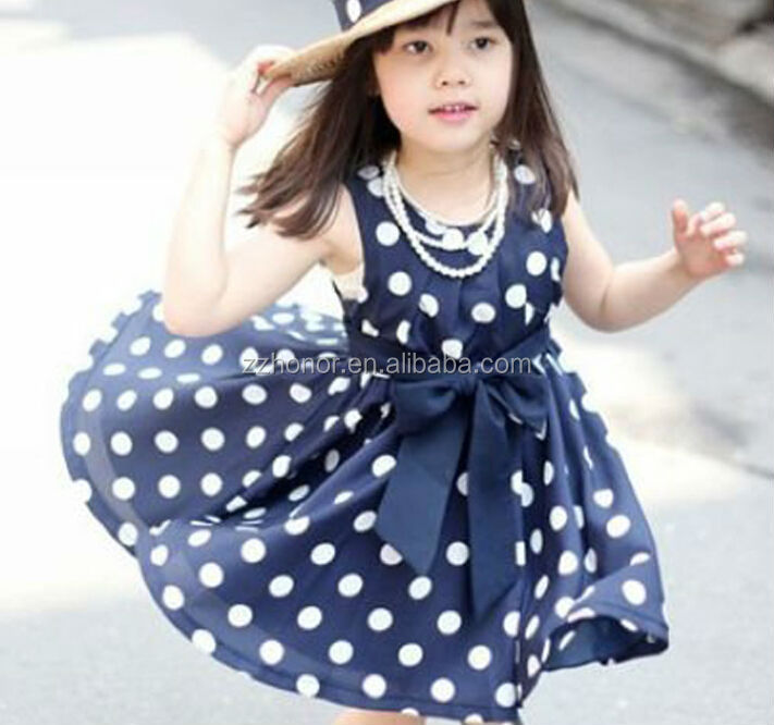 Dark blue wave point dress, korea style dress for kids, hot sale girl party dress