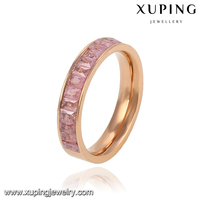13773-xuping 2016 fashionable newest crystal elegant stainless steel gold wedding ring