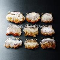 New!! Raw yellow citrine pendants, 24k gold plated yellow crystal citrine quartz pendants WT-P302