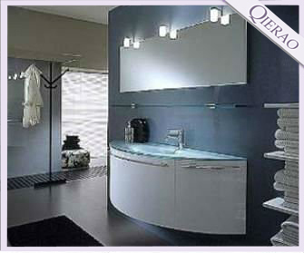 HOT Modern 55 Inches Curved PVC Bathroom Vanity Cabinet Furniture 4406