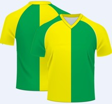 V Neck Green and yellow2014Sport Cool dry Custom supply soccer jersey