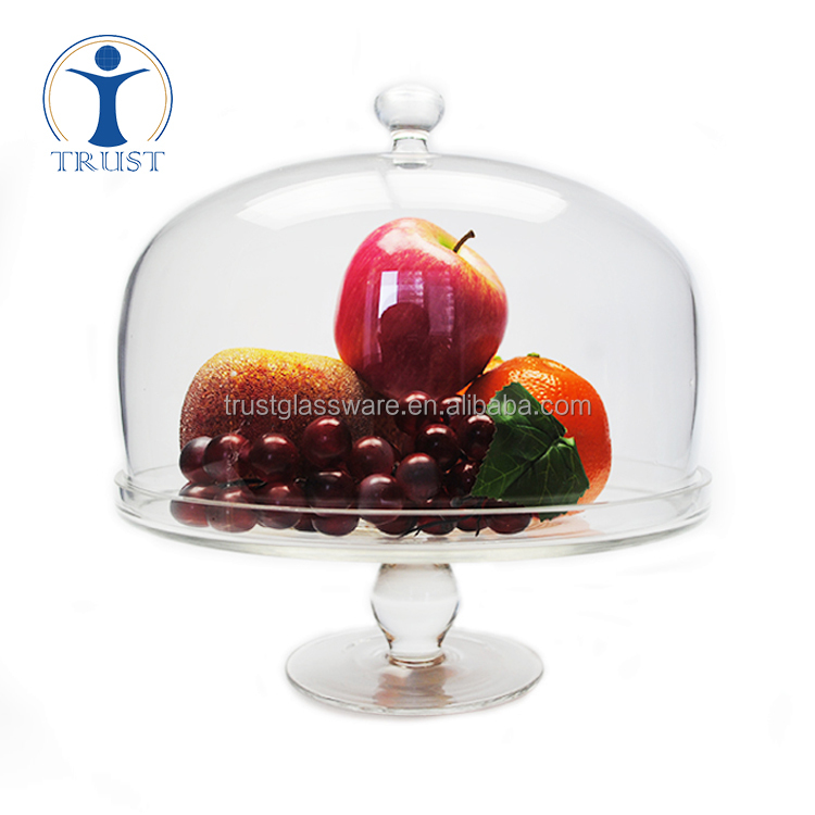 China Factory Fashion display wedding high quality big clear cake stand with dome cover