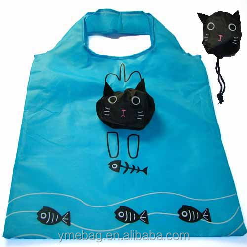 Cat and Fish funny design recyclable shopping tote bags for mummy