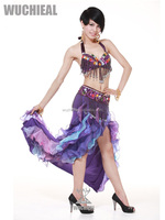 2014 Hot sale sexy belly dance clothing with ruffle skirt for women dance performance (QC1088-1)