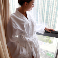 Fashion Design Waffle Bathrobe With High Quality 100% Cotton Terry Hotel or Home use