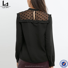 Woman Blouses Top Brand Mesh Spot Print Frill Trim Top Ladies Wholesale Tops