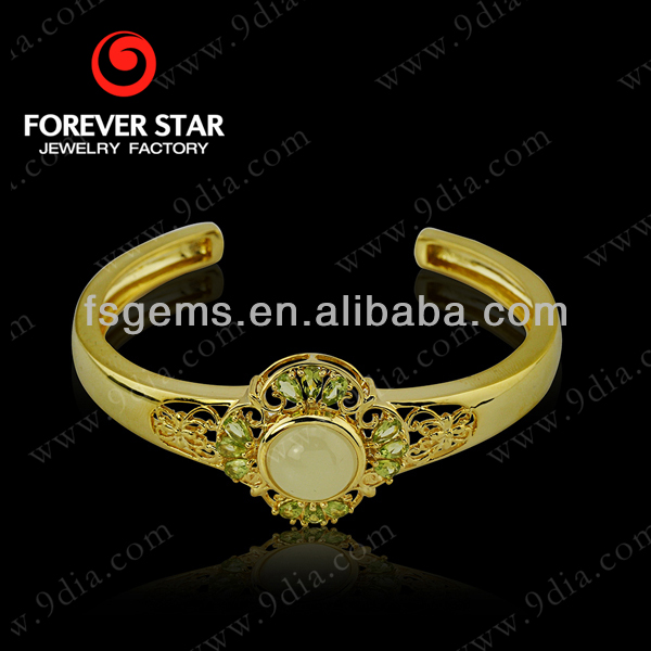 Newest Design Hetian Jade Plated Rose Gold With Peridot Bracelet