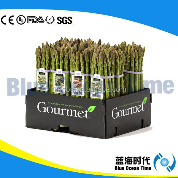 Durable PP corrugated asparagus tips box,plastic tips box