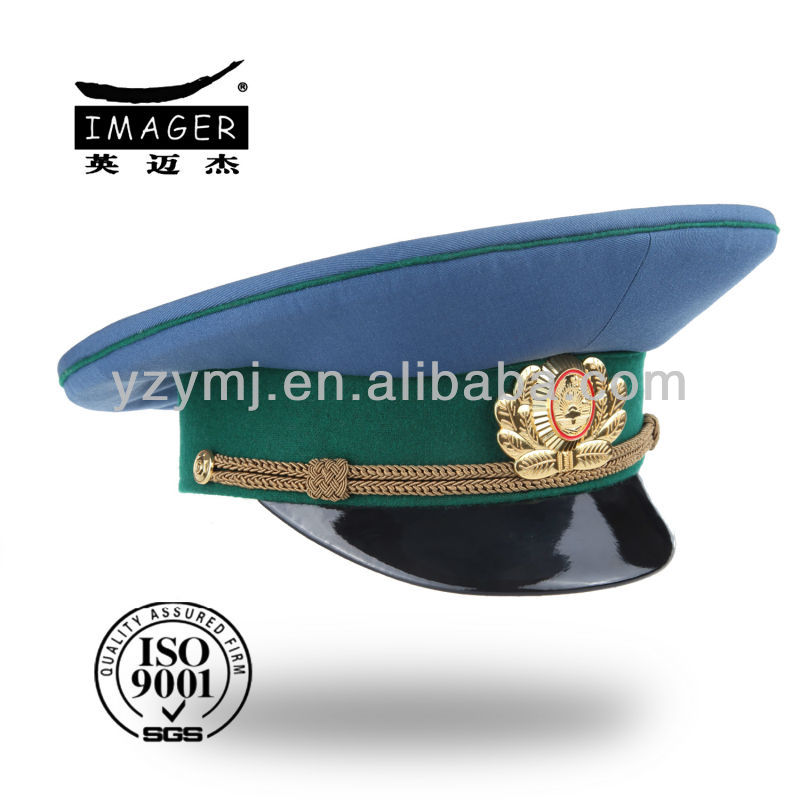 Africa military cap with green marching band wholesale