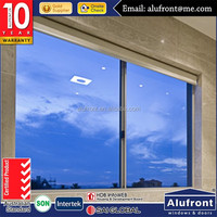 AS2047 newly design aluminum double tempered glass sliding window with timber reveal in low price