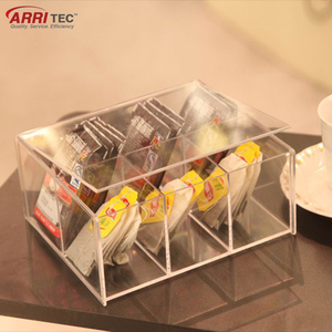 lucite clear acrylic hotel tea bag instant coffee bag display box with lid Transparency Acrylic Tea Bag storage box