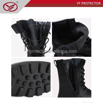 black leather tactical boots/high performance military boots