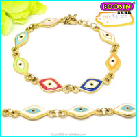 Alibaba hot sell fashion new girl design evil eye charms bead gold bracelet #3405