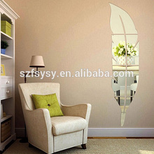 Funny DIY Feather Shaped Reflective Mirror Wall Stickers